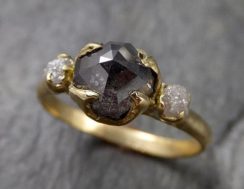 Fancy cut Salt and Pepper Diamond Engagement 18k Yellow Gold Multi stone Wedding Ring Stacking Rough Diamond Ring byAngeline 1405