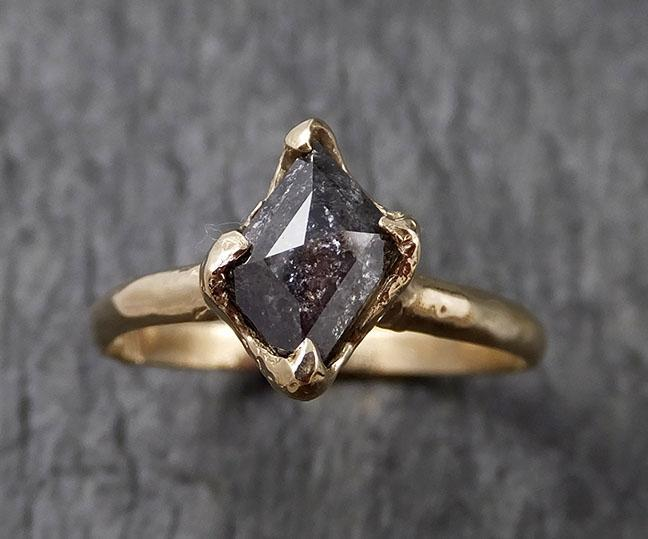 Fancy cut Salt and pepper Diamond Engagement 14k yellow Gold Wedding Ring byAngeline 1410