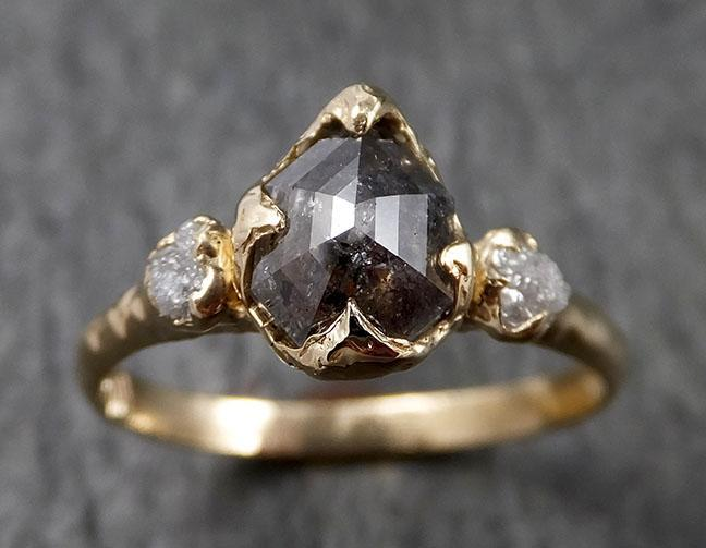 Fancy cut salt and pepper Diamond Engagement 14k Yellow Gold Multi stone Wedding Ring Stacking Rough Diamond Ring byAngeline 1412