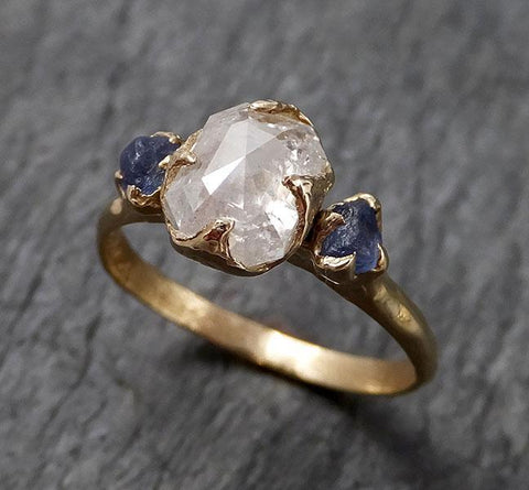 Fancy cut White Diamond Engagement sapphire 14k yellow Gold Multi stone Wedding Ring byAngeline 1414