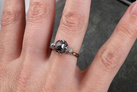 Faceted Fancy cut Salt and Pepper Diamond Engagement 18k White Gold Multi stone Wedding Ring Rough Diamond Ring byAngeline 1415