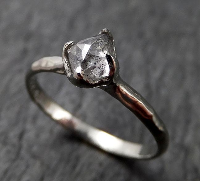 Faceted Fancy cut white Diamond Solitaire Engagement 18k White Gold Wedding Ring byAngeline 1419