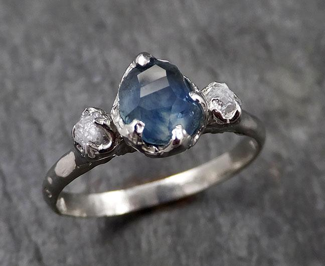 Partially faceted Montana Sapphire Diamond 14k White Gold Engagement Ring Wedding Ring Custom One Of a Kind blue Gemstone Ring Multi stone Ring 1420