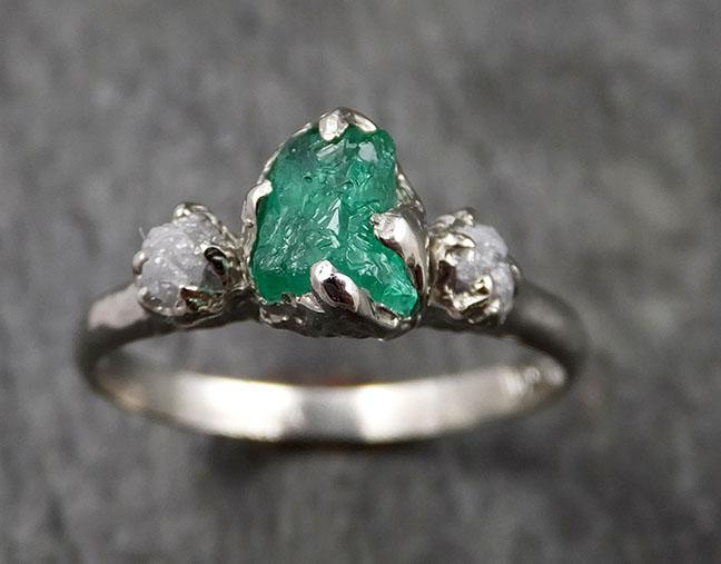 Diamond Emerald Engagement Ring 14k Multi stone white Gold Wedding Ring Uncut Birthstone Stacking Rough Diamond Ring byAngeline 1421