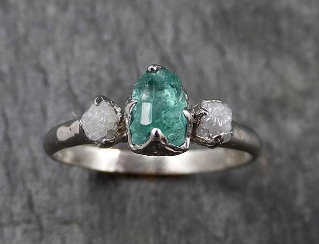 Diamond Emerald Engagement Ring 14k Multi stone white Gold Wedding Ring Uncut Birthstone Stacking Rough Diamond Ring byAngeline 1422
