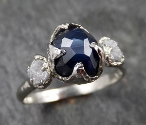 Partially faceted Sapphire Diamond 14k White Gold Engagement Ring Wedding Ring Custom One Of a Kind blue Gemstone Ring Multi stone Ring 1423