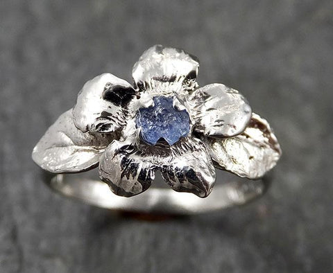 Real Flower Raw Sapphire 14k White gold wedding engagement ring Enchanted Garden Floral Ring byAngeline 1425