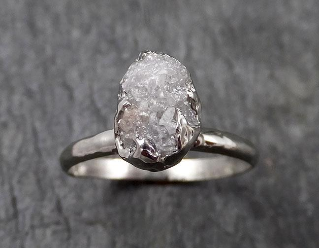 Rough Diamond Engagement Ring Raw 14k White Gold Ring Wedding Diamond Solitaire Rough Diamond Ring byAngeline 1429
