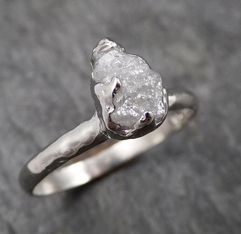 Rough Diamond Engagement Ring Raw 14k White Gold Ring Wedding Diamond Solitaire Rough Diamond Ring byAngeline 1431