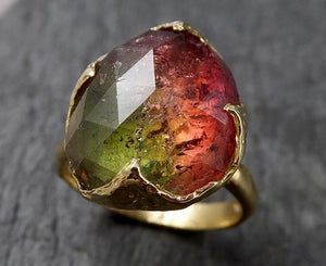Fancy cut Watermelon Tourmaline Yellow Gold Ring Gemstone Solitaire recycled 18k statement cocktail statement 1432