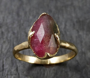 Fancy cut Watermelon Tourmaline Yellow Gold Ring Gemstone Solitaire recycled 18k statement cocktail statement 1433
