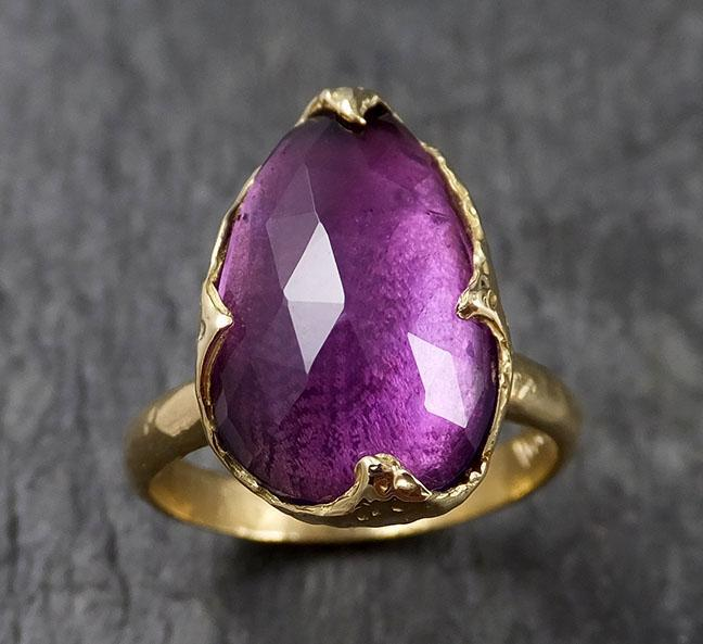 Fancy cut Amethyst Gold Ring Gemstone Solitaire recycled 18k statement cocktail statement 1434