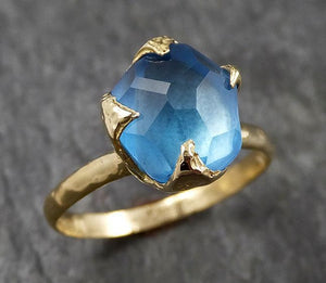 Partially faceted Blue Topaz 18k yellow Gold Engagement Solitaire Ring Wedding Ring One Of a Kind Gemstone Ring 1435