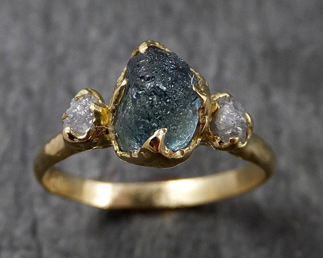 Raw Montana Sapphire Diamond Yellow 18k Gold Engagement Ring Wedding Ring Custom One Of a Kind Gemstone Multi stone Ring 1436