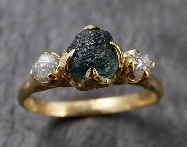 Montana Sapphire Diamond Yellow 18k Gold Engagement Ring Wedding Ring Custom One Of a Kind Gemstone Multi stone Ring 1437
