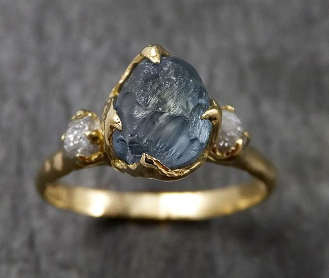 Montana Sapphire Diamond Yellow 18k Gold Engagement Ring Wedding Ring Custom One Of a Kind Gemstone Multi stone Ring 1438