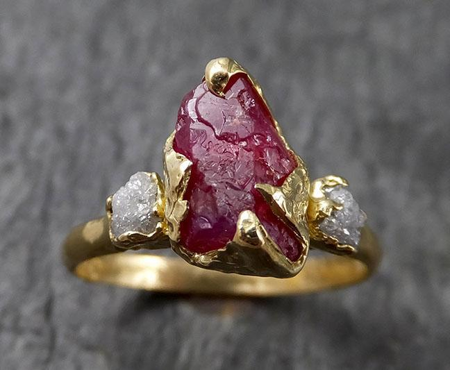 Raw Rough Ruby Diamond Engagement Ring 14k yellow gold red Gemstone Engagement birthstone Right Hand Ring Multi Stone byAngeline 1439