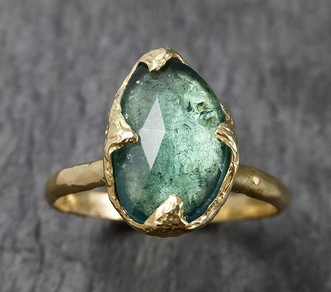 Fancy cut Blue Tourmaline Yellow Gold Ring Gemstone Solitaire recycled 18k statement cocktail statement 1442