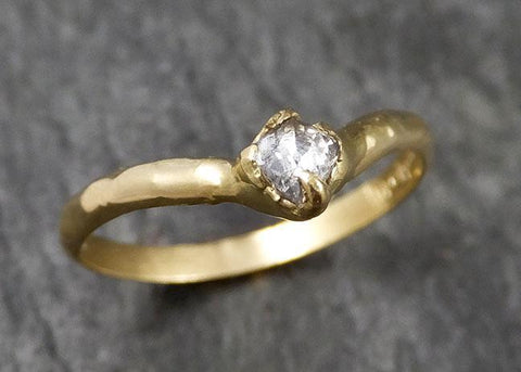 Fancy cut Chevron stacking Dainty White Diamond Solitaire Engagement 18k yellow Gold Wedding Ring byAngeline 1443