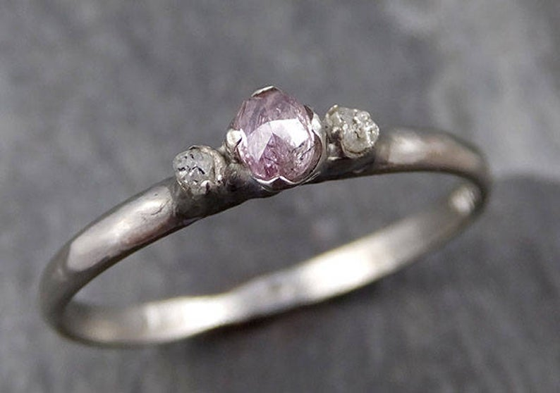 Faceted Fancy cut Dainty pink Diamond Engagement 14k White Gold Multi stone Wedding Ring Rough Diamond Ring byAngeline 0762