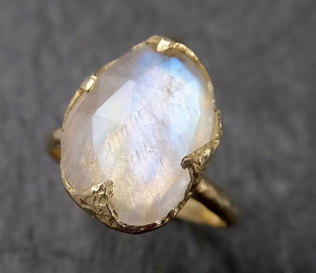 Fancy cut Moonstone Yellow Gold Ring Gemstone Solitaire recycled 18k statement cocktail statement 1444