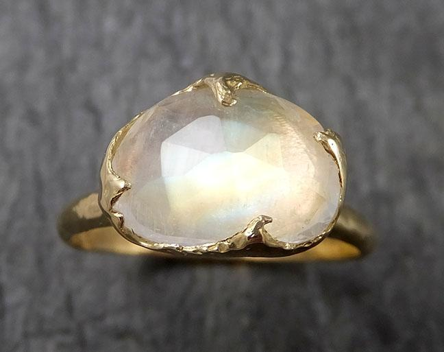 Fancy cut Moonstone Yellow Gold Ring Gemstone Solitaire recycled 18k statement cocktail statement 1445