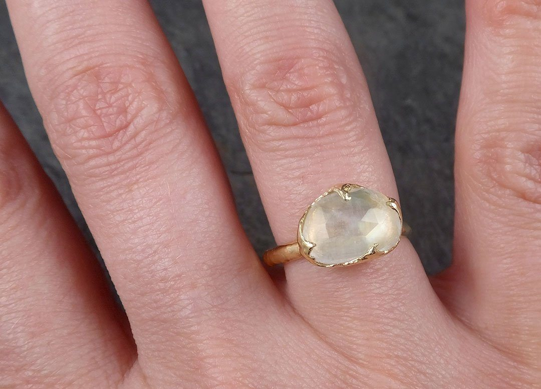 Fancy cut Moonstone Yellow Gold Ring Gemstone Solitaire recycled 18k ...