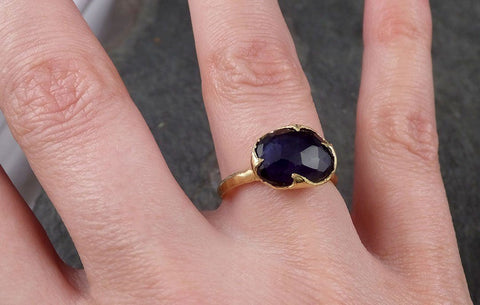 Fancy cut Iolite Yellow Gold Ring Gemstone Solitaire recycled 18k statement cocktail statement 1446