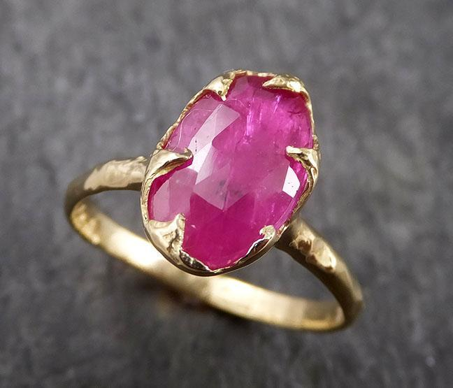 Fancy cut Ruby Yellow Gold Ring Gemstone Solitaire recycled 18k statement cocktail statement 1447