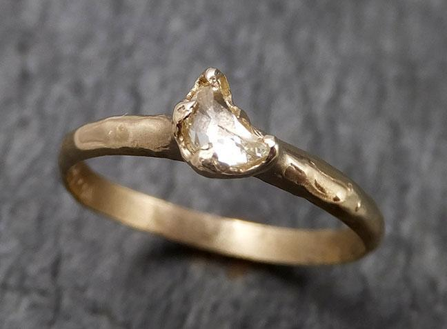 Fancy cut crescent moon diamond Engagement 14k Yellow Gold Solitaire Wedding Ring byAngeline 1448