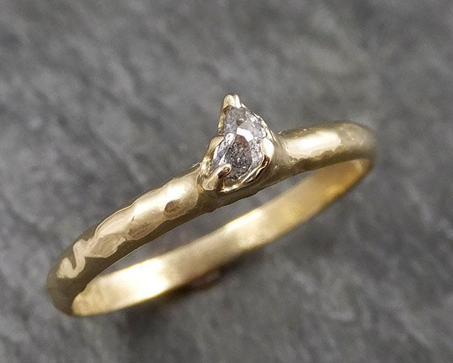 Fancy cut crescent moon diamond Engagement 18k Yellow Gold Solitaire Wedding Ring byAngeline 1449