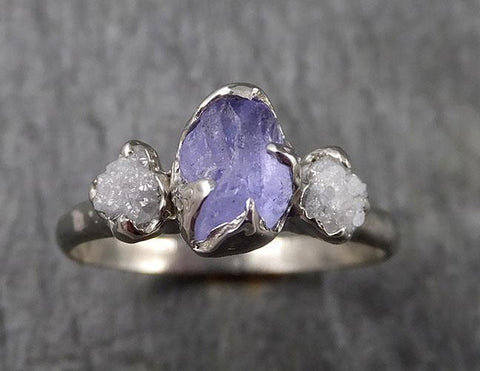 Raw Sapphire Diamond White Gold Engagement Ring Multi stone Wedding Ring Custom One Of a Kind Gemstone Ring Three stone Ring byAngeline 1451