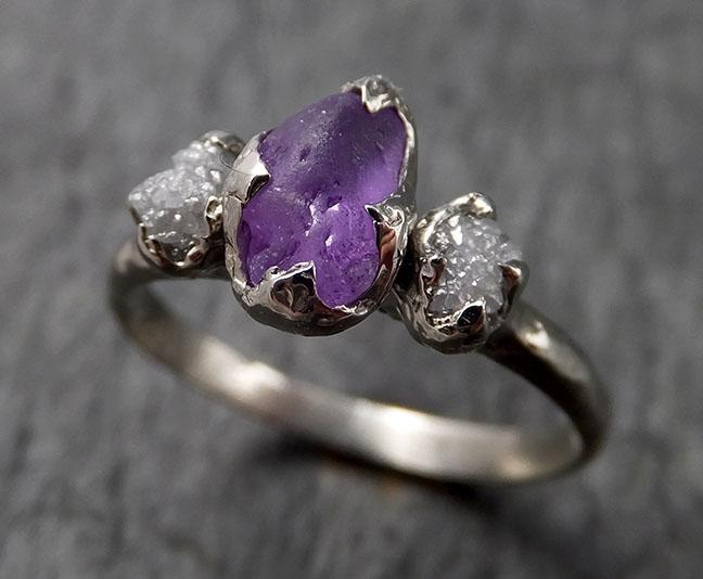 Raw Lavender Sapphire Diamond White Gold Engagement Ring Multi stone Wedding Ring Custom One Of a Kind Gemstone Ring Three stone Ring byAngeline 1454