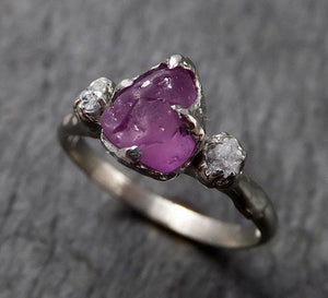 Raw Lavender Sapphire Diamond White Gold Engagement Ring Multi stone Wedding Ring Custom One Of a Kind Gemstone Ring Three stone Ring byAngeline 1455