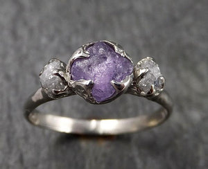 Raw Lavender Sapphire Diamond White Gold Engagement Ring Multi stone Wedding Ring Custom One Of a Kind Gemstone Ring Three stone Ring byAngeline 1456