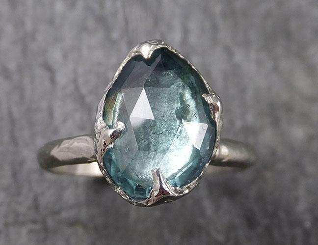 Fancy cut blue Tourmaline White Gold Ring Gemstone Solitaire recycled 18k statement cocktail statement 1461