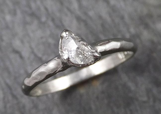 Fancy Cut Half Moon Diamond Solitaire Engagement 14k White Gold Wedding Ring byAngeline 1462