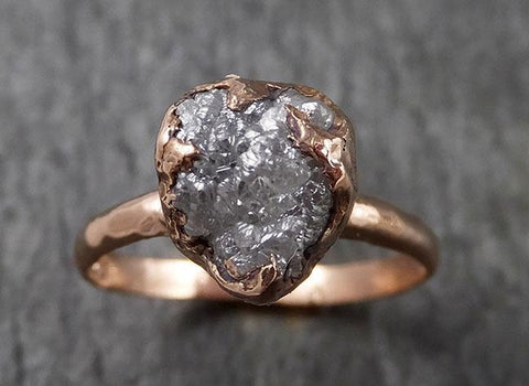 Raw White Diamond Solitaire Engagement Ring Rough 14k rose Gold Wedding diamond Stacking Rough Diamond byAngeline 1465