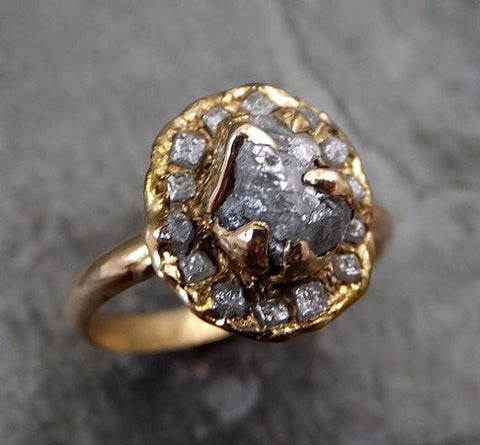 Raw Diamond Multi stone Halo Engagement Ring Rough 18k rose Gold Wedding Ring diamond Stacking Ring Rough Diamond Ring 0039 - Gemstone ring by Angeline