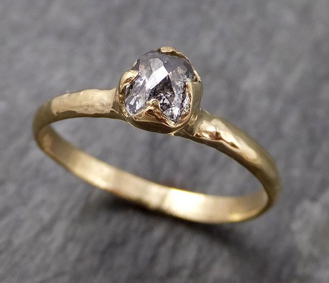Fancy cut salt and pepper Diamond Solitaire Engagement 18k yellow Gold Wedding Ring Diamond Ring byAngeline 0941