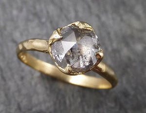 Fancy cut salt and pepper Diamond Solitaire Engagement 18k yellow Gold Wedding Ring Diamond Ring byAngeline 1473