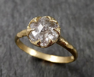 Fancy cut White Diamond Solitaire Engagement 18k yellow Gold Wedding Ring Diamond Ring byAngeline 1474