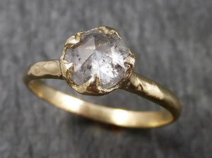 Fancy cut Salt and pepper Diamond Solitaire Engagement 18k yellow Gold Wedding Ring Diamond Ring byAngeline 1475