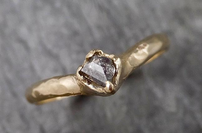 Fancy cut Chevron stacking Dainty Salt and Pepper Diamond Solitaire Engagement 18k Yellow Gold Wedding Ring byAngeline 1476