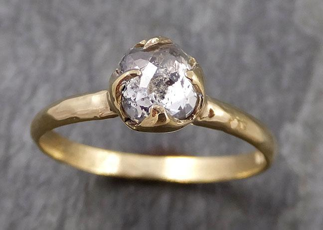 Fancy cut salt and pepper Diamond Solitaire Engagement 18k yellow Gold Wedding Ring Diamond Ring byAngeline 0942