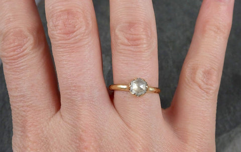 Fancy cut white Diamond Solitaire Engagement 18k yellow Gold Wedding Ring byAngeline 0944