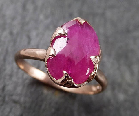 Fancy cut Ruby Rose Gold Ring Gemstone Solitaire recycled 14k statement cocktail statement 1479
