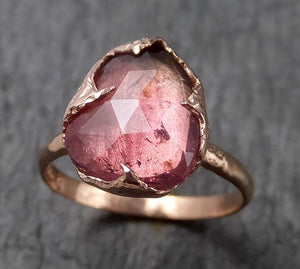 Fancy cut watermelon Tourmaline Rose Gold Ring Gemstone Solitaire recycled 14k statement cocktail statement 1481