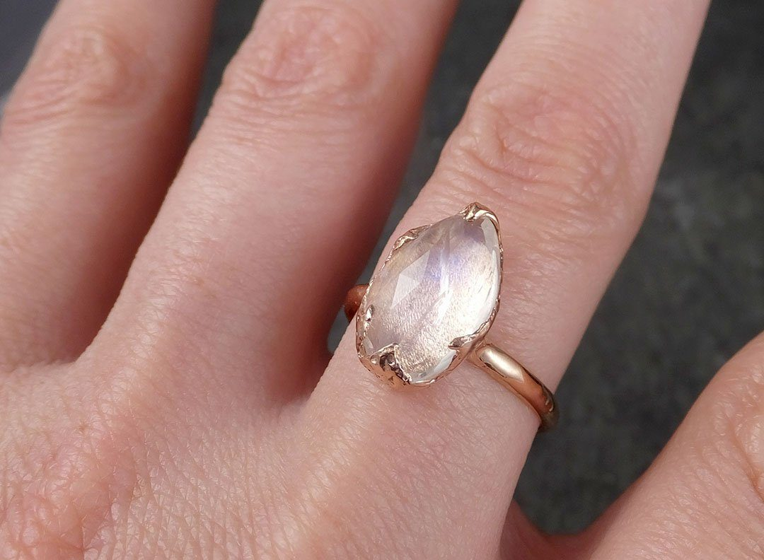Fancy cut Moonstone Rose Gold Ring Gemstone Solitaire recycled 14k ...