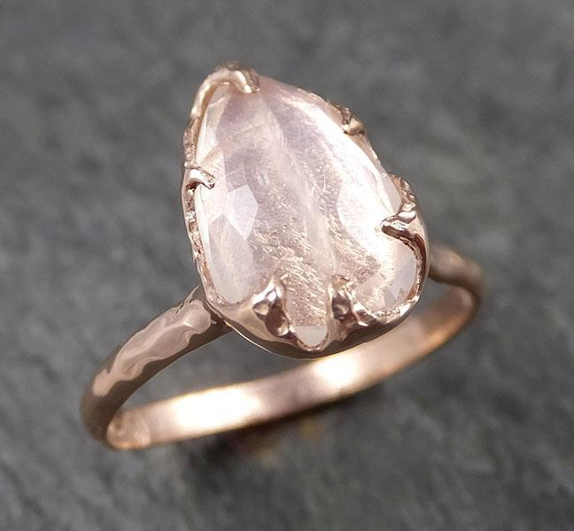 Fancy cut Moonstone Rose Gold Ring Gemstone Solitaire recycled 14k statement cocktail statement 1484